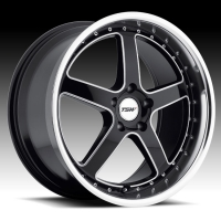 TSW Carthage 8,0x17 5/120 ET20 d-76 Gloss Black Mirror Lip Milled Spokes (1780CAR205120B76)